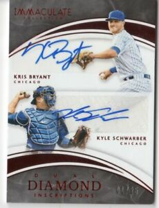 2016 IMMACULATE  KRIS BRYANT KYLE SCHWARBER RED  DUAL  AUTOGRAPH  CARD 1/25