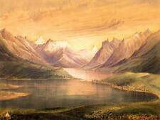 PAINTING LANDSCAPE WATERTON CHIEF MOUNTAIN LAKE SCENIC VIEW POSTER BB8566