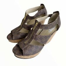 Adrienne Vittadini Size 10M Brown Leather Logo Sandal Cork Wedges Front Zip
