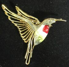 Gold Plated Ruby Throated Flying Hummingbird Brooch