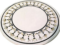 "24"" white marble coffee Table Top mother of pearl stones inlay marquetry work"