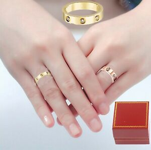 Stainless steel  Men Women love ring band free red box sz 4-15 gold silver rose