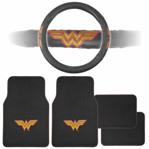 Wonder Woman Car Floor Mats and Steering Wheel Cover Gift Set - Universal Fit