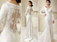 Vintage White Sheath V Neck Long Sleeves Satin Lace Wedding Dresses Bridal Gowns