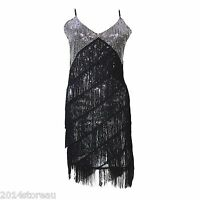 1920s Flapper Dress Great Gatsby Charleston Fancy Fringe Tassel Costume FN688