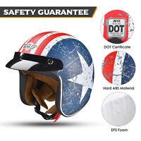 Open Face Helmet Motorcycle DOT Approved Retro Pilot Sun Visor AHR RUN O5 S Size