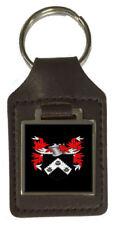 Bague de famille Crest PATRONYME ARMOIRIES Marron Porte-clés en cuir gravé