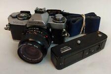 Minolta XD11-35mm SLR Film Camera W/MD Celtic  28mm Lens, Strap & Auto Rewinder