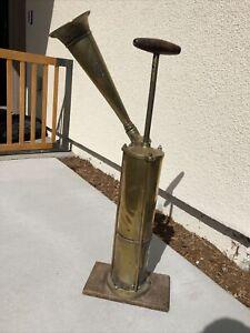 Vintage Brass Ships Dock Tyfon Fog Horn. Hand Pump - Brass W Wood Handle Sweden