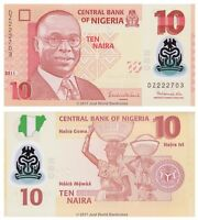 Nigeria 10 Naira 2011 Polymer Replacement DZ Prefix  P-39cr Banknotes UNC