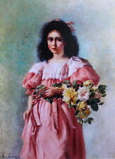 Young Lady with Bouguetof Roses by Emile Vernon