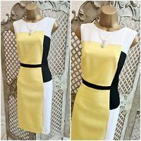 M & S COLLECTION UK 12 Smart Yellow Black White Colour Block Shift Pencil Dress