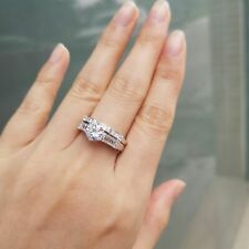Aaa Cz 925 Sterling Silver Size 6 Engagement Wedding Ring Set 1.5ct Round White