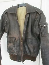 Mens Vintage Leather Aviator Wool Lined Flying Coat Jacket (Small - Medium ?)