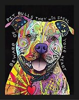 FRAMED Beware of Pit Bulls by Dean Russo 14x11 Dog Art Print
