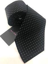 Paul Smith Noir Cravate avec argent Pointillée 100% Tissé En Soie Made in Italy