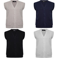 MENS PLAIN KNIT V NECK BUTTONED CARDIGAN FINE KNITWEAR COTTON SLEEVELESS TOPS