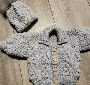 Hand knitted aran baby grey cardigan set 0-6 months