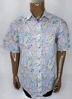Alan Flusser Mens White Paisley Medium Button Down Short Sleeve Shirt Multi Colo