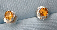 HANDCRAFTED  4.0MM  RND NATURAL GOLDEN CITRINE STUDS  IN STERLING SILVER 0.50CTW