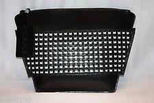 NEW!  L.A.M.B. Gwen Stefani AGATHA Black White Leather Woven Zipper Clutch Bag