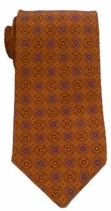 """Brioni Mens 100% Silk Orange Floral Tie Made in Italy Width 3.75"""" Mint Condition"""