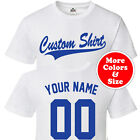 CUSTOM Script & Tail Baseball Style T Shirt - Personalized Your Text Front Back