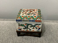 Antique Chinese Wanli Mark Wucai Porcelain Square Box w/ Dragons & Phoenix Dec.
