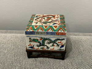 Antique Chinese Wanli Mark Wucai Porcelain Square Box w/ Dragons & Phoenix Dec