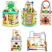 8 in 1 Kids Activity Cube Toys Baby Educational Wooden Bead Maze Shape Sorter