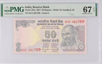India 50 Rupees 2017 P 104 X Superb Gem UNC PMG 67 EPQ Top Pop