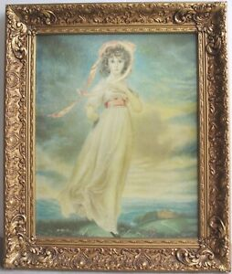 """One Vtg gold victorian style wood frame & Thomas Lawrence Pinkie print 16""""x20"""""""