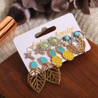 Boho 6Pairs Women Rhinestone Hollow Flower Pineapple Leaf Ear Stud Earrings Set