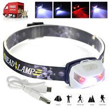 1000lm XPE 2xred LED Headlight Mini Headlamp Flashlight USB Head Torch Lamp