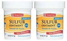 De La Cruz® 10% Sulfur Ointment for Acne 2.6 OZ / USA / Exp  2/23  (2 JARS)