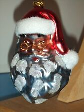 Nwt Blown Glass Dark Santa Head Ornament