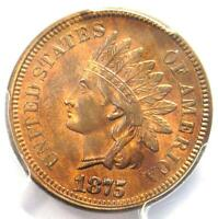 1875 Indian Cent 1C - PCGS Uncirculated Details - Rare Early UNC MS Penny!