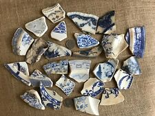 X 25 pieces of Scottish Sea Pottery BLUE and WHITE large # 34