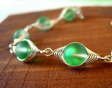 VALENTINA spring green foiled crystal glass herringbone wire wrapped bracelet
