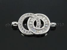Clear Zircon Gemstones Pave Double Ring Bracelet Connector Charm Beads Silver