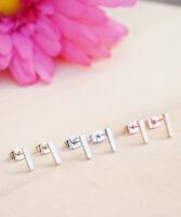 Bar Earrings, Bar Studs,  Rose Gold, Silver or Gold Mini Simple Bar Earrings
