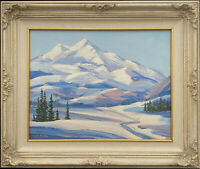 Snowy Mountain Landscape, Original Vintage Oil Painting by W.S. Abbey, 14x18