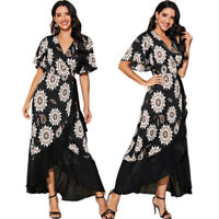 Fashion Women Chiffon Wrap Dress Printed Floral Ruffles Boho Beach Sundress Gown