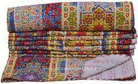 Twin Kantha Quilt Indian Floral Print Bedspread Boho Reversible Bedding Blanket