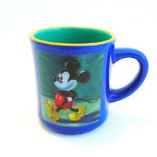 New listing Disney Store Mickey Mouse Coffee Mug Blue Green Tea Cup Cartoon Comic Sketch Art