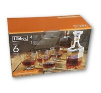 6-PC LIBBEY MADISION WHISKEY SET WITH GLASS DECANTER & 12 OZ WHISKY GLASSES NEW!