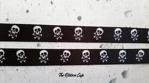 """Skulls 10mm 3/8"""" wide satin 2 metres"""