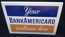 ⭐VINTAGE 1975 ⭐ BANKAMERICARD CREDIT CARD STAND UP DISPLAY SIGN - AMERICARD VISA