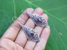 Bali Filigree Pattern Er-944 Garnet Gemstone Earrings with