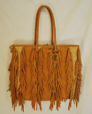 NWT CHIC BoHo Hippie Carlos Tan Fringe Weave Tote Beach Overnight Bag Purse L